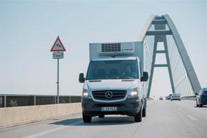 Die Verbesserung des Mercedes Sprinter Van bekommt moderne Seitenwind Assistenten